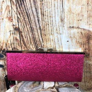 NWT INC Fuschia Sparkle Clutch Bow Jeweled Closure